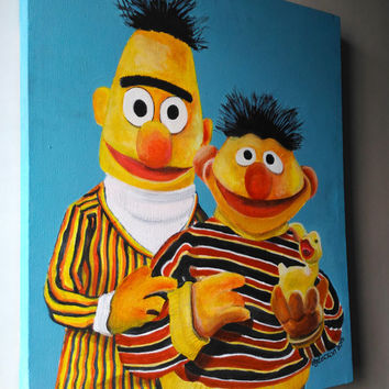 Ernie and Bert (Acrylic on Canvas Sesame Street for Kids' bedroom)