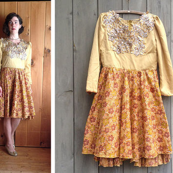 Vintage dress | Gold rhinestone embellished full skirt glam dress