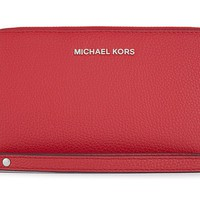 Michael Kors Mercer Large Multi Function Phone Case Wallet Wristlet Red/Silver