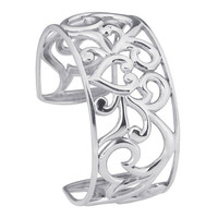 Sterling Silver Filigree Heart Cuff Bracelet Custom Made in the USA