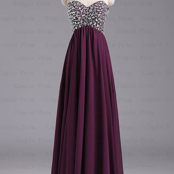 Custom A-line Sweetheart Floor-length Sleeveless Chiffon Amazing Prom Dress Bridesmaid Dress Evening Dress Party Dress 2013 With Beading