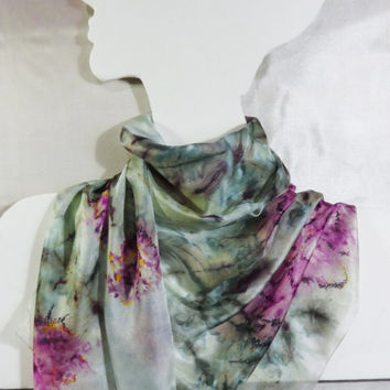"Silk Scarf Hand-Painted ""Misty Morning Roses"". Long Fashion Floral Summer Shawl. Pink flowers, pale green, white. Ready. 149x45cm, 59x18"""