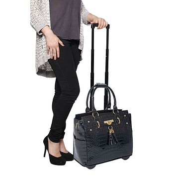 """""""THE COSMOPOLITAN"""" Patent Alligator Rolling  iPad, Tablet or Laptop Tote Carryall Bag"""