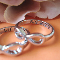 "Set of 2 Infinity Rings...silver ""Big Sis and Lil Sis with a heart"" custom engraved ring , big and little sisters ring, forever and always"