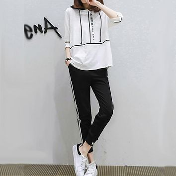 Women Casual Letter Multicolor Stripe Hooded Middle Sleeve Trousers Set Two-Piece Sportswear