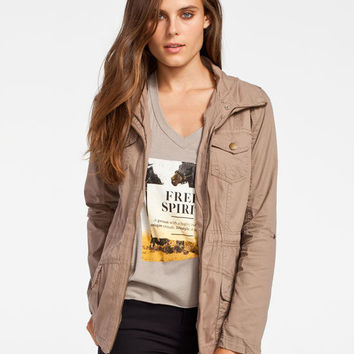 Ashley Womens Hooded Anorak Jacket Mocha  In Sizes