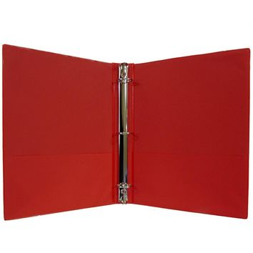 "1"" Hard Cover (PVC Free) 3-Ring Binder - Red - CASE OF 24"