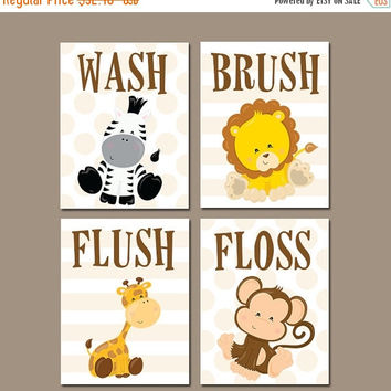 Animal Bathroom Wall Art, Jungle Bath Art, Kid Bathroom, Safari Animal Theme Decor, Wash Brush Flush Floss Rules Canvas or Prints Set of 4
