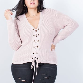 Plus Size Tied Together Knit Sweater