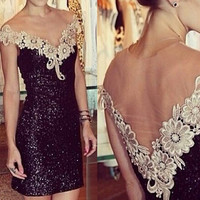 Black Sequined Lace Floral Crochet Neckline Mini Dress