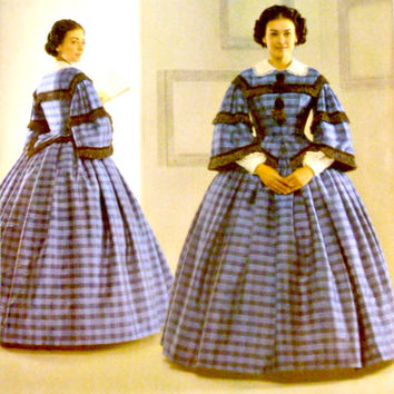 Antebellum Costume Dress Pattern Two Piece Simplicity 3727 Pagoda Sleeves Bustle Detachable Accessories Sewing Patterns Uncut Size 16 - 24