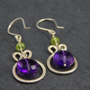 horseshoe dangle earrings, purple amethyst, sterling silver