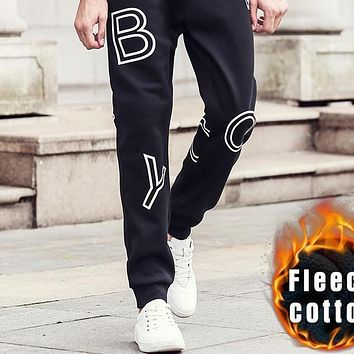 Autumn Winter thick hip hop pants men clothing 100% cotton male fleece black sweatpants fashion jogger
