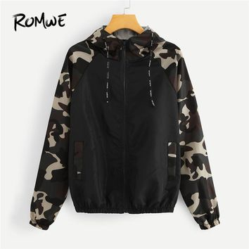 ROMWE Zip Up Women Hoodies Contrast Camo Panel Raglan Sleeve Jacket Casual Long Sleeves Coats 2018 Autumn Outwear Womens Clothes