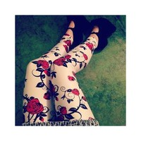 Roses White Leggings