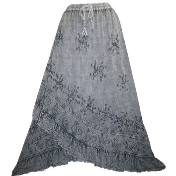 Gypsy Medieval Embroidered Asymmetrical Cross Ruffle Hem Skirt