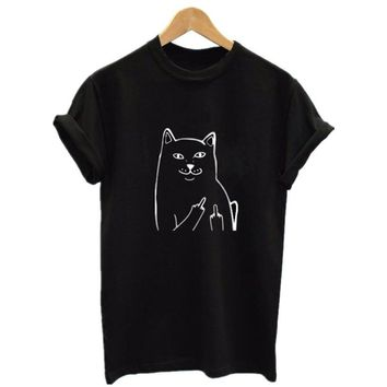 Middle Finger Pocket Cat T-Shirt