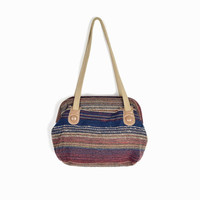 Vintage 80s Woven Striped Purse / Shoulder Bag in Burgundy Navy and Taupe