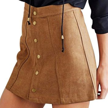 Women Suede Mini Skirt  Waist A Line Button Slim Skirts Elegant Single