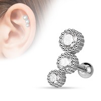 3 Bezel Cubic Zarconia Tragus Cartilage 16ga Helix Barbell  316L Surgical Steel Body Jewelry