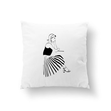 Pleated Skirt Pillow, Fashion Pillow, Fashion Chic, Everyday Outfit, Fashion Illustration, Cushion Cover, Decorative Pillow, Throw Pillow,