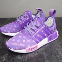 adidas NMD x SUP Supreme x LV Louis Vuitton Fashion Trending Casual Running Sports Shoes Purple G