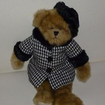 Audrey Wearing A Black & White Checkered Coat Teddy Bear Plush Animal TS 2007