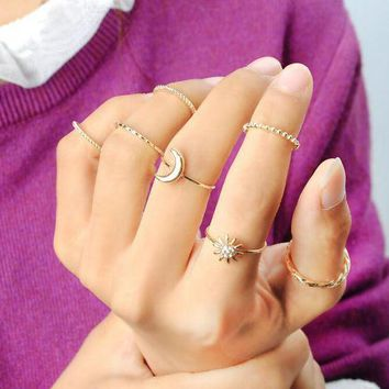 DCCK1IN Simple Style Gold Ring 7Pcs