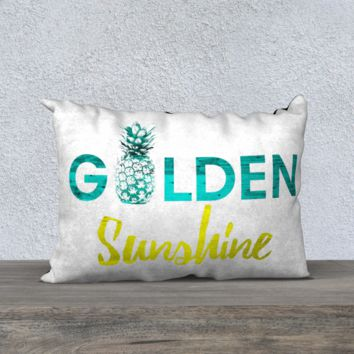 "Golden Sunshine Hawaiian Tropical Pineapple Decorative Pillow 20""x14"""
