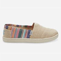 Toms Burlap Geo Textile Canvas Classic Kids Slip-Ons Multi  In Sizes