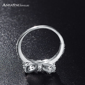 ANFASNI Lovely Bow-Knot Rings For Girls Princess Elegant Plated Micro Inlay Bijoux Accessories Jewelry CRI0143-B