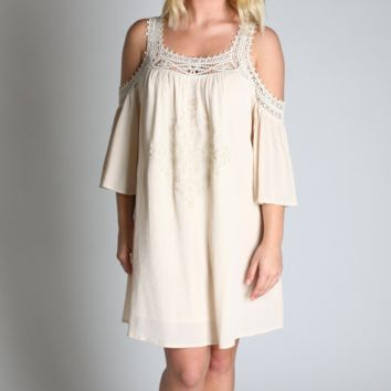 Kori America Lace Strap Dress with Embroidered Detail