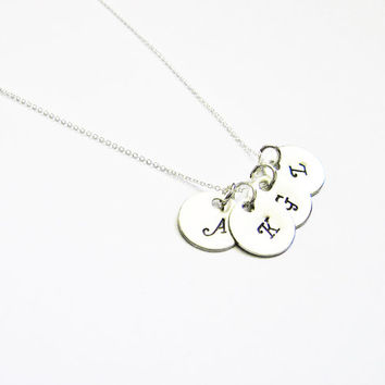 FOUR Sterling Silver Initial Necklace, Monogram Charm Family Necklace, Daily Jewelry, Sister, Children, Grandma, Mother's Day Gift, family