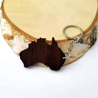 Wooden Australia shape Keychain, Australia shape, Kangaroo home, Friendly Green materials