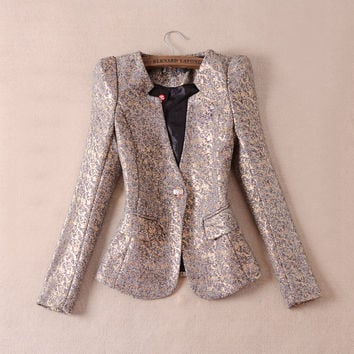 HIGH QUALITY 2016 Fashion Autumn Winter Women's Elegant Long Sleeve Single Button Gold Floral Print Blazer Jacket Size M-3XL