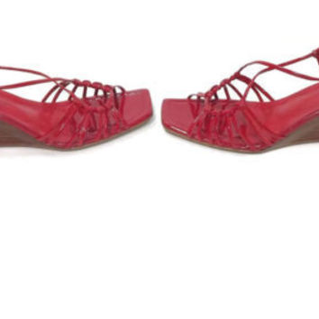 FRANCO Sarto womens Pretty RED Patent Leather Wedge heel sandals shoes size 7.5