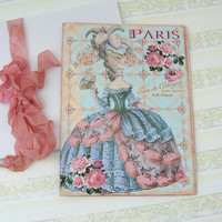 Flat NoteCards Marie Antoinette Paris Blue Ballgown Large Shabby Chic Set of 8 with Envelopes Handmade by Enchanted Quilling on Etsy