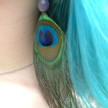 Peacock Feather Earrings Lavender