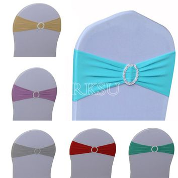 50Pcs/lot Lycra Chair Band Spandex Stretch Cover for Wedding Banquet Party Hotel Decoration