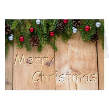 Rustic Wood Christmas Greeting Card
