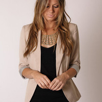Esther Boutique - henley blazer- beige