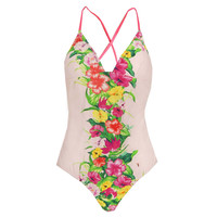 Womens Multi Colour Floral Removable Cup Swimsuit