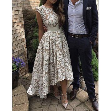 Honey Qiao Full Lace Prom Dresses 2017 New Arrival Sleeveless High Low Women Special Occasion Formal Evening Gowns
