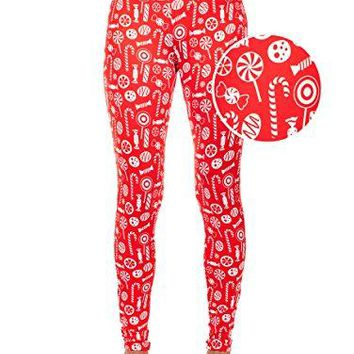 Tipsy Elves Womens Candy Christmas Leggings  Cute Red Holiday Tights