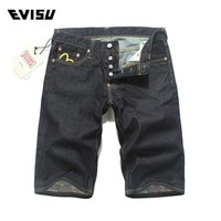DCCKON3 Evisu Original Brand 2018 Spring Summer Men's Jeans Shorts Popular Youth Casual Clothing Men Cotton Denim Button Shorts  6109