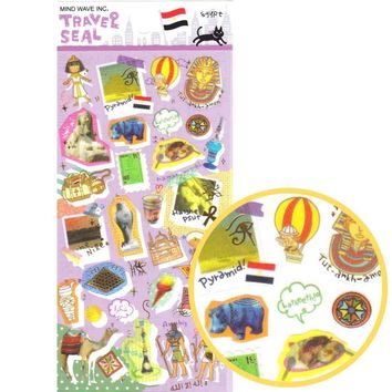 Egypt Themed Camel Pyramids Shaped Travel Photo Sticker Seals from Japan