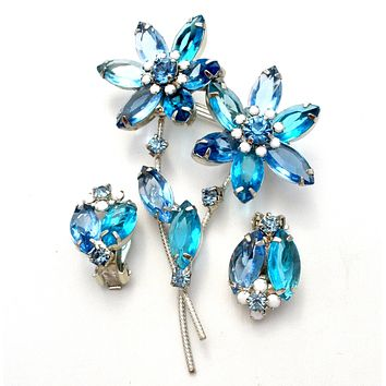 Juliana Blue Rhinestone Flower Brooch & Earrings Set