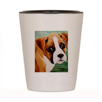 Boxer Shot Glass Ceramic cup of Original Dog Art Painting