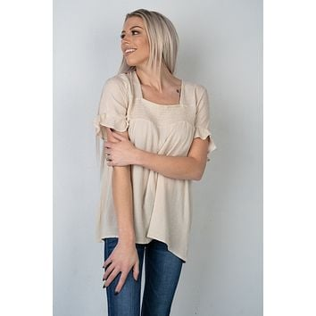 Because of You Beige Ruffle Sleeve Blouse