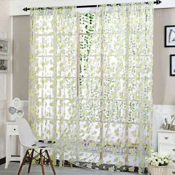 Fashion Window Curtain Flower Print Divider Tulle Voile Drape Panel Sheer Scarf Valances